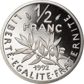 Coin, France, Semeuse, 1/2 Franc, 1992, Paris, BE, MS(65-70), Nickel, KM:931.2