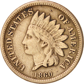 Coin, United States, Indian Head Cent, Cent, 1860, U.S. Mint, Philadelphia