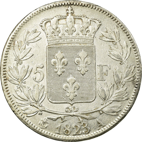 Coin, France, Louis XVIII, Louis XVIII, 5 Francs, 1823, Paris, AU(55-58)