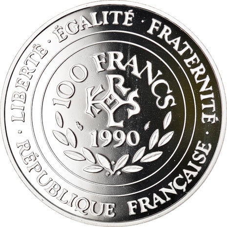 Coin, France, 100 Francs-15 Ecus, 1990, Paris, MS(65-70), Silver, KM:989