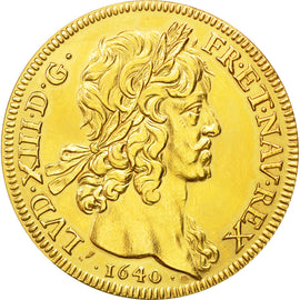 Coin, France, Louis XIII, Refrappe Dix Louis, Medal, 1640, Paris, MS(63), Gold