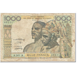 Banknote, West African States, 1000 Francs, 1959-1965, Undated (1959-65)