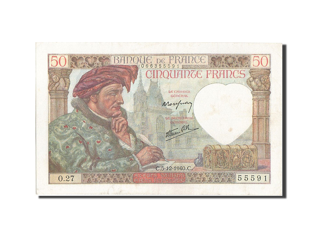 France, 50 Francs, 50 F 1940-1942 ''Jacques Coeur'', 1940, KM #93, 1940-12-05,..