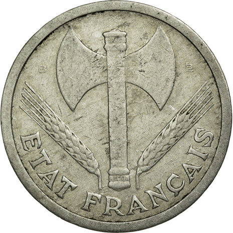 Coin, France, Bazor, 2 Francs, 1943, Beaumont le Roger, VF(20-25), Aluminum