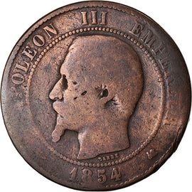 Coin, France, Napoleon III, 10 Centimes, 1854, Bordeaux, F(12-15), KM 771.5