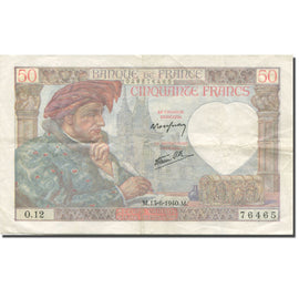 France, 50 Francs, Jacques Coeur, 1940, 1940-06-13, EF(40-45), Fayette:19.01