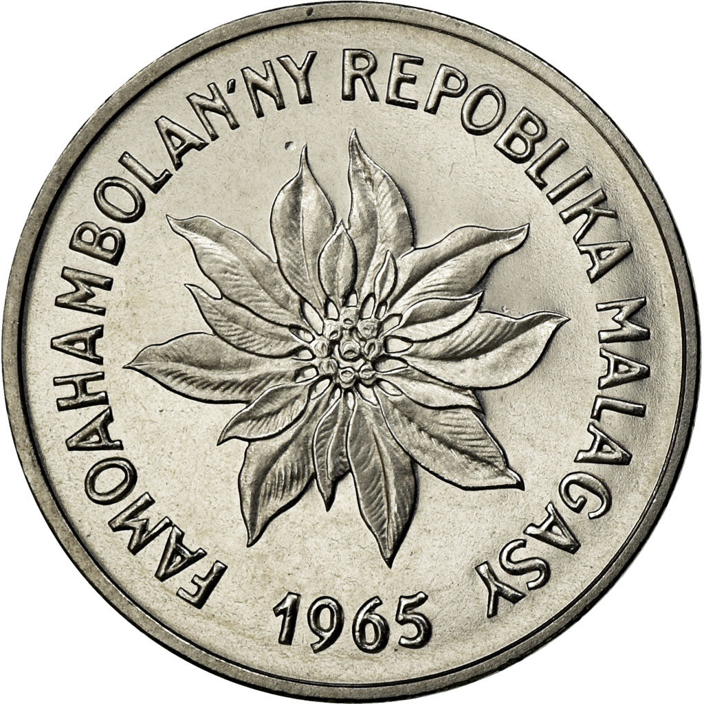 Coin, Madagascar, 2 Francs, 1965, Paris, MS(65-70), Stainless Steel, KM:E7