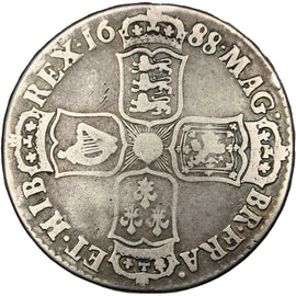 GREAT BRITAIN, 1/2 Crown, 1688, KM #462, VF(20-25), Silver, 14.32