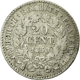 Coin, France, Cérès, 20 Centimes, 1850, Bordeaux, VF(30-35), Silver, KM:758.3