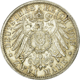 Coin, German States, BADEN, Friedrich II, 2 Mark, 1913, Karlsruhe, EF(40-45)