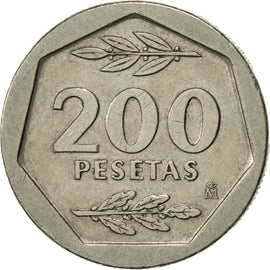 Coin, Spain, Juan Carlos I, 200 Pesetas, 1987, AU(50-53), Copper-nickel, KM:829