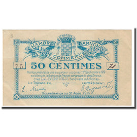 France, Annonay, 50 Centimes, 1914, Chambre de Commerce, AU(55-58), Pirot:11-1