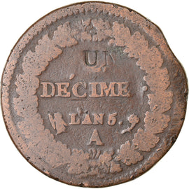 Coin, France, Decime, AN 5, Paris, Modification du 2 décimes, VF(20-25)