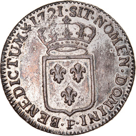 Coin, France, Louis XV, 1/3 Écu de France, 1/3 Ecu, 1721, Dijon, AU(50-53)