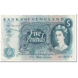 Banknote, Great Britain, 5 Pounds, 1966, Undated (1966), KM:375b, AU(55-58)
