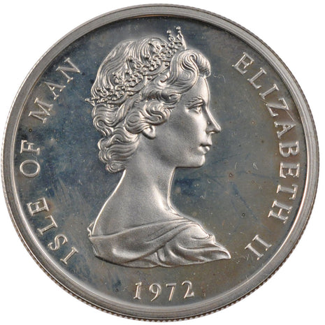 ISLE OF MAN, 25 Pence, 1972, Pobjoy Mint, KM #25a, MS(65-70), Silver, 38.5,...