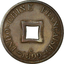 Coin, FRENCH INDO-CHINA, 2 Sapeque, 1899, Paris, EF(40-45), Bronze, KM:6