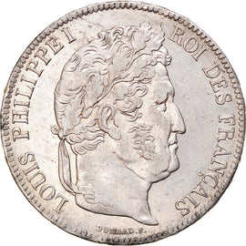 Coin, France, Louis-Philippe, 5 Francs, 1837, Rouen, AU(55-58), Silver
