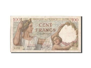 Banknote, France, 100 Francs, 100 F 1939-1942 ''Sully'', 1939, 1939-09-28