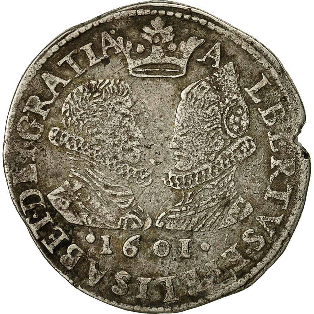 Coin, Spanish Netherlands, BRABANT, 1/2 Florin, 1601, Brussels, KM 21.3