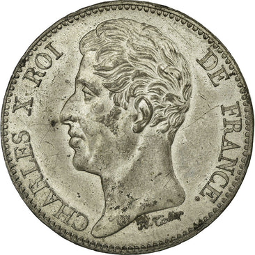 Coin, France, 5 Francs, 1824, Paris, AU(55-58), Pewter, Gadoury:641