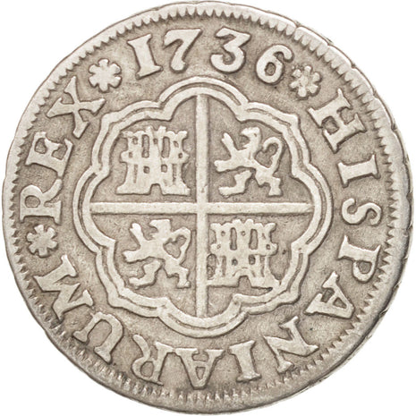 SPAIN, Real, 1736, Seville, KM #354, EF(40-45), Silver, 2.76