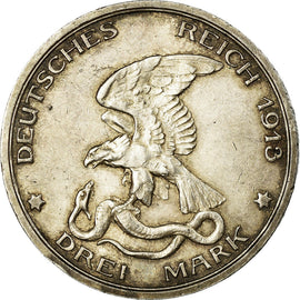 Coin, German States, PRUSSIA, Wilhelm II, 3 Mark, 1913, Berlin, EF(40-45)