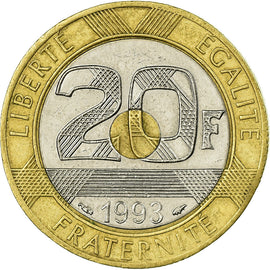 Coin, France, Mont Saint Michel, 20 Francs, 1993, EF(40-45), Tri-Metallic