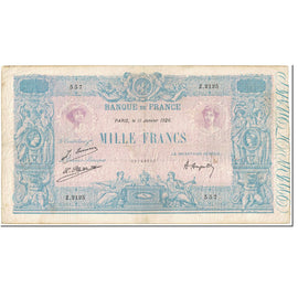 France, 1000 Francs, 1 000 F 1889-1926 ''Bleu et Rose'', 1926, 1926-01-11