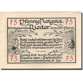 Banknote, Germany, Rieder, 75 Pfennig, champs, 1921 UNC(63) Mehl:1122.1a
