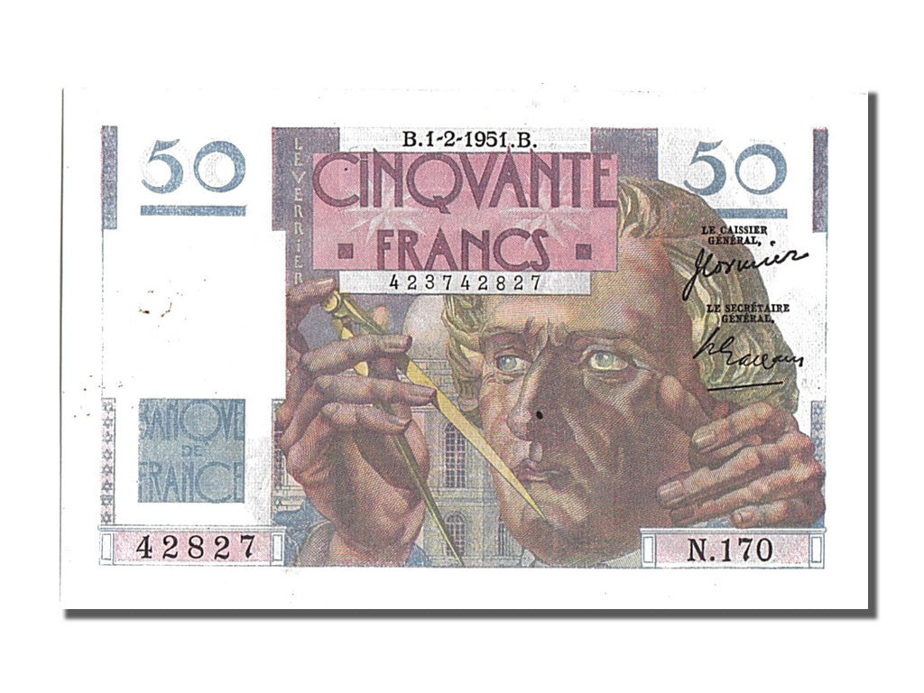 France, 50 Francs, 50 F 1946-1951 ''Le Verrier'', 1951, KM #127c, 1951-02-01,...