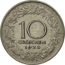Coin, Austria, 10 Groschen, 1925, Warsaw, EF(40-45), Copper-nickel, KM:2838