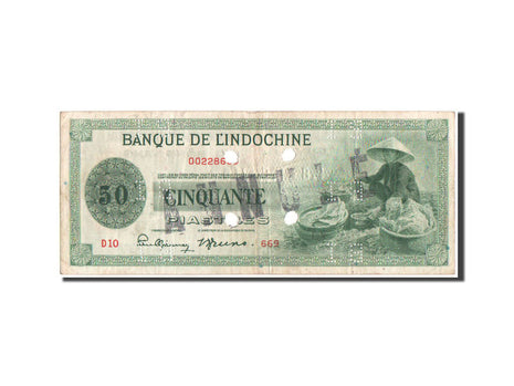 French Indochina, 50 Piastres, 1941, SPECIMEN, KM:77s