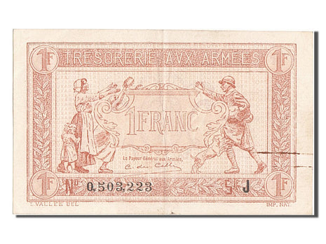 France, 1 Franc, 1917-1919 Army Treasury, KM #M2, AU(50-53), 0.503.223, Fayette.
