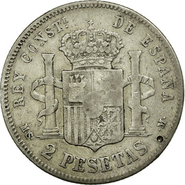 Coin, Spain, Alfonso XII, 2 Pesetas, 1882, EF(40-45), Silver, KM:678.2