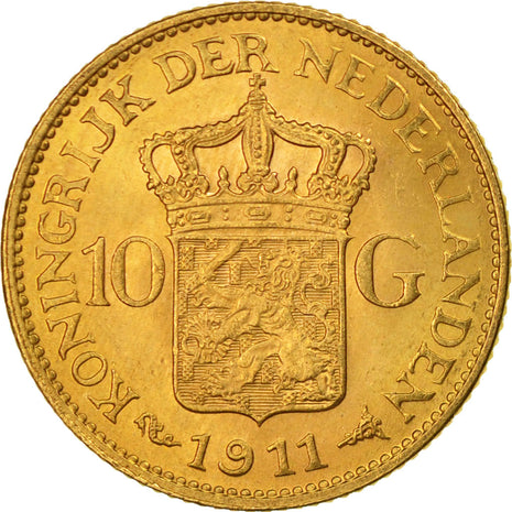 Coin, Netherlands, Wilhelmina I, 10 Gulden, 1911, MS(63), Gold, KM:149