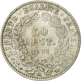 Coin, France, 50 Centimes, 1851, Paris, AU(50-53), Silver, KM:769.1, Gadoury:411