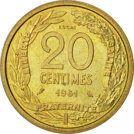 Coin, France, 20 Centimes, 1961, Paris, MS(63), Cupro-nickel Aluminium, KM:E106