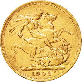 AUSTRALIA, Sovereign, 1906, Melbourne, KM #15, AU(50-53), Gold, 21, 7.98