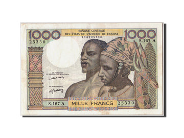 West African States, 1000 Francs, KM #103Al, VF(30-35), S.167A 25330