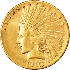 Coin, United States, Indian Head, $10, Eagle, 1910, U.S. Mint, Denver