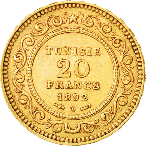 Coin, Tunisia, Ali Bey, 20 Francs, 1892, Paris, EF(40-45), Gold, KM:227