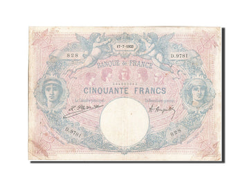 Banknote, France, 50 Francs, 50 F 1889-1927 ''Bleu et Rose'', 1923, 1923-07-17
