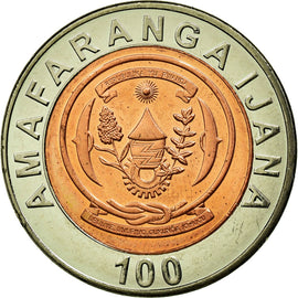 Coin, Rwanda, 100 Francs, 2007, British Royal Mint, AU(50-53), Bi-Metallic