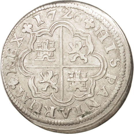 SPAIN, Real, 1726, Madrid, KM #298, EF(40-45), Silver, 2.74