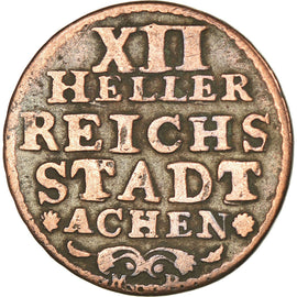 Coin, German States, AACHEN, 12 Heller, 1760, VF(30-35), Copper, KM:51