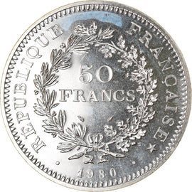 Coin, France, Hercule, 50 Francs, 1980, Paris, MS(65-70), Silver, KM:941.1