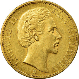 Coin, German States, BAVARIA, Ludwig II, 20 Mark, 1872, AU(55-58), Gold, KM:894