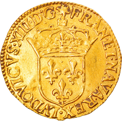Coin, France, Louis XIII, Ecu d'or, 1637, Rouen, AU(50-53), Gold, KM:51