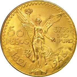 Coin, Mexico, 50 Pesos, 1946, Mexico City, MS(63), Gold, KM:481